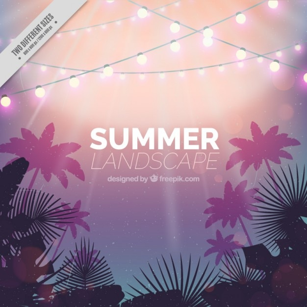 Summer landscape with light garlands\ background
