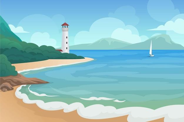 灯台のある夏の風景 Premiumベクター