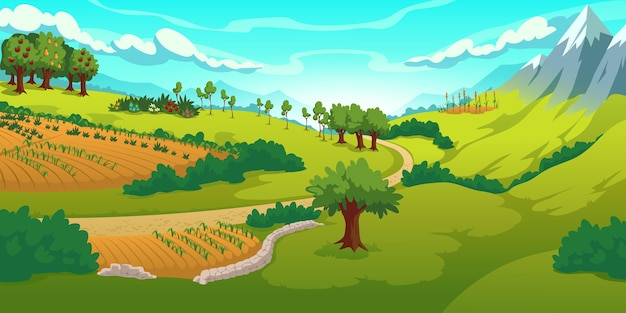 Summer landscape with mountains, green meadows, fields and garden Free Vector