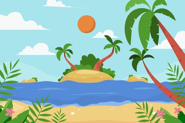 여름 풍경 확대 / 축소 배경 무료 벡터