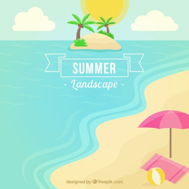 Summer lanscape of the beach Free Vector