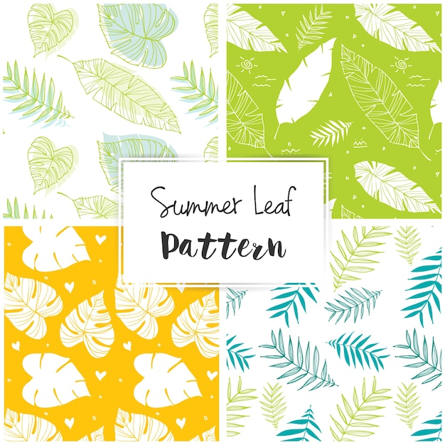 Summer leaf pattern Free Vector