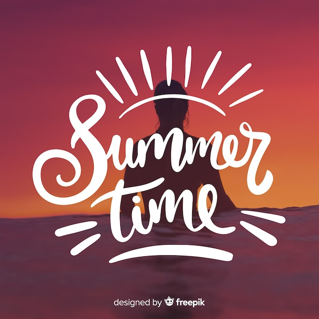 Summer lettering background with image Free Vector
