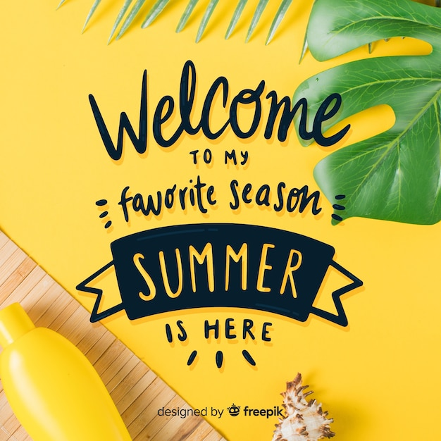 Summer lettering background with photo Free Vector