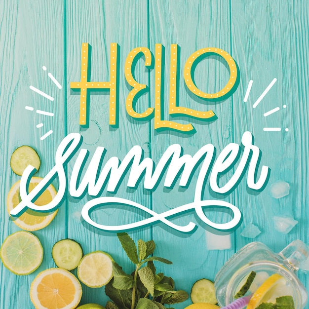 Summer lettering design Free Vector