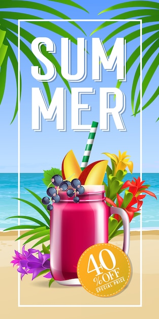 Summer lettering in frame with sea beach and cocktail. summer offer or sale advertising Free Vector