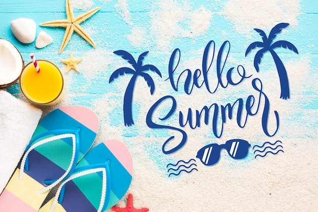 Summer lettering message style Free Vector