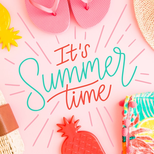 Summer lettering message theme Free Vector