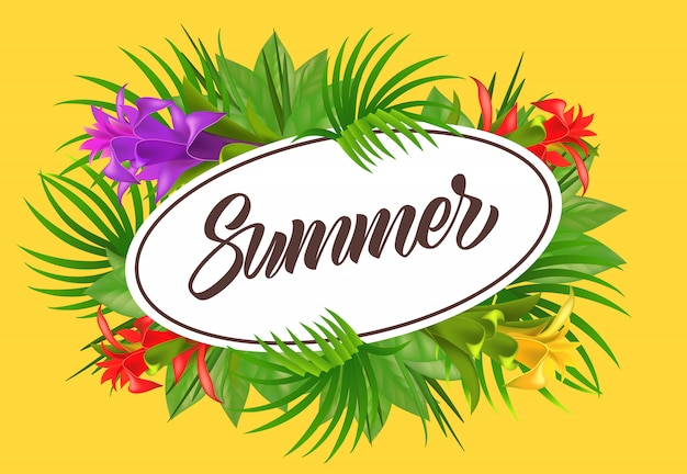 Summer lettering in oval frame with flowers. summer offer or sale advertising Free Vector