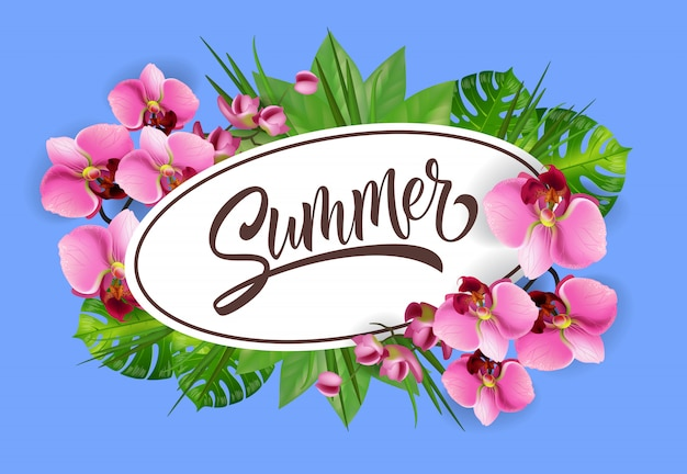 Summer lettering in oval frame with orchids. summer offer or sale advertising Free Vector
