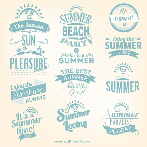 Summer party poster design vector premium download - Summer Lettering Set Vector Free Download