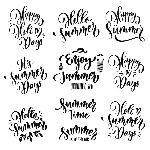 Summer lettering set. Premium Vector