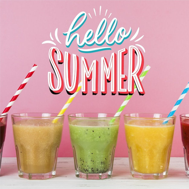 Summer lettering theme Free Vector