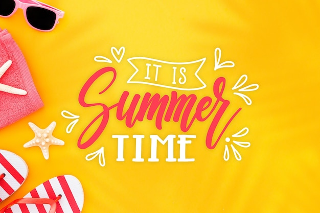 Summer lettering with beach Free Vector