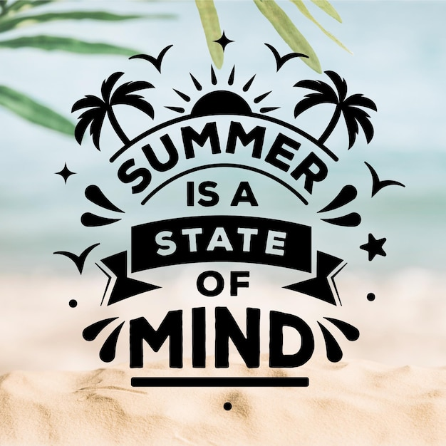 Summer lettering with blurred beach Free Vector