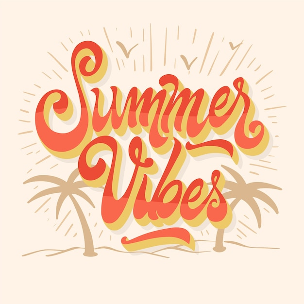 Summer lettering with palm trees Free Vector