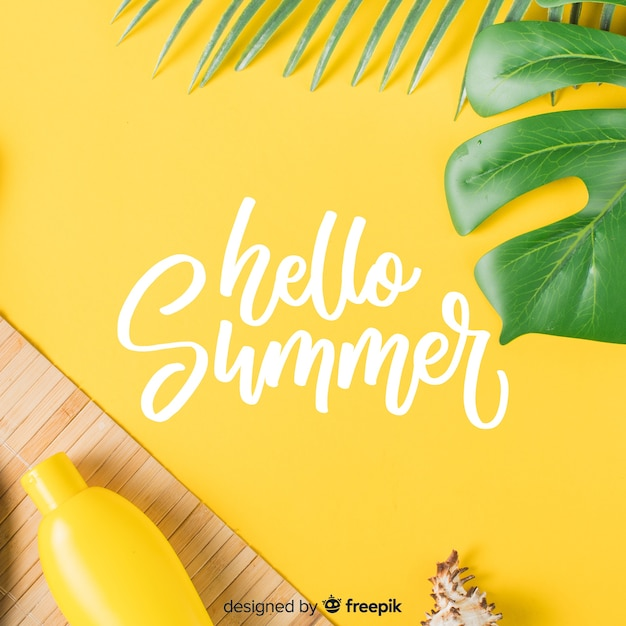 Summer lettering with photo Free Vector