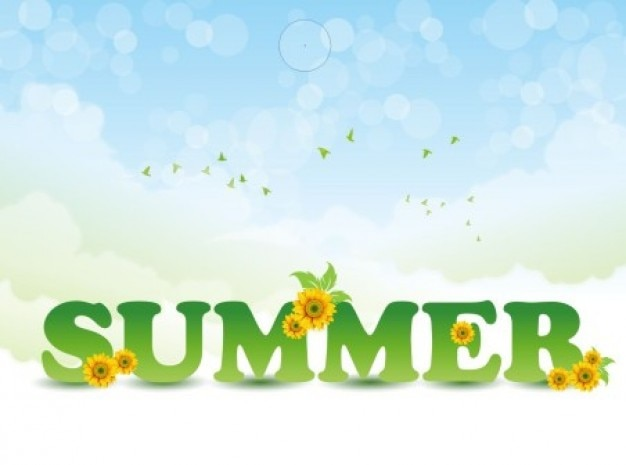 Summer letters with flowers background