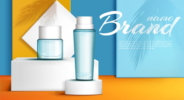 Summer line perfume ad banner Free Vector