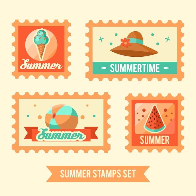 Summer logo illustration. summer time, enjoy your holidays. Free Vector
