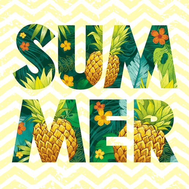 Summer logo with sketch pineapple fruit and tropical leaves. Premium Vector
