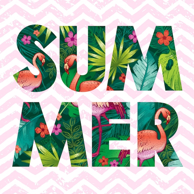 Summer logo with sketch pink flamingo and tropical leaves. Premium Vector