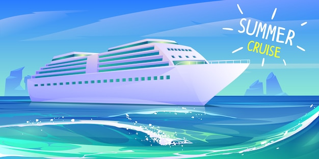 Summer luxury vacation on cruise ship Free Vector