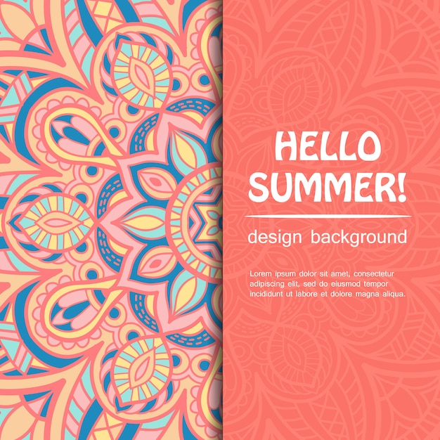 Summer mandala design. ethnic background. Premium Vector