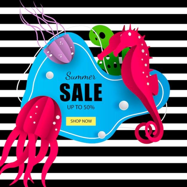 Summer marine sale banner Premium Vector