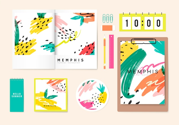Summer memphis design stationery vector Free Vector