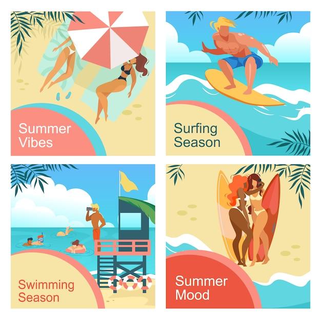 Summer mood, vibes, surfing, swimming season square banners set Premium Vector