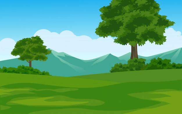 여름 산 풍경 프리미엄 벡터