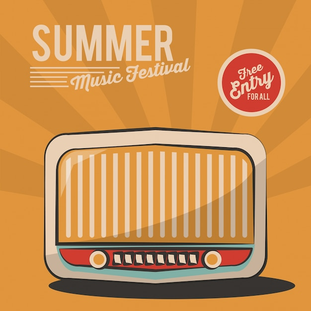 Summer music festival radio vintage poster invitation Premium Vector