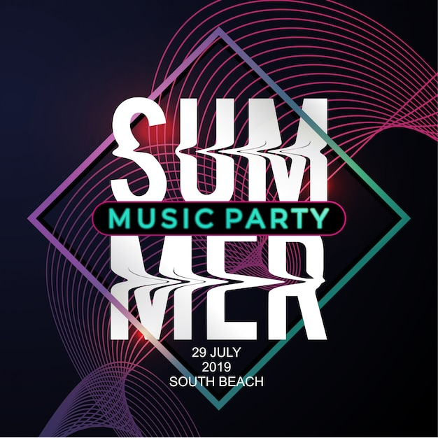 Summer music party poster template with modern neon style Premium Vector