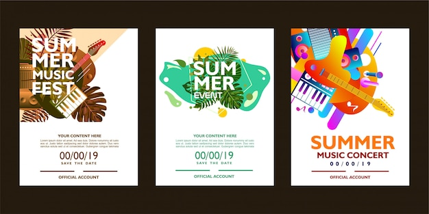 Summer music poster template with colorful shape. Premium Vector