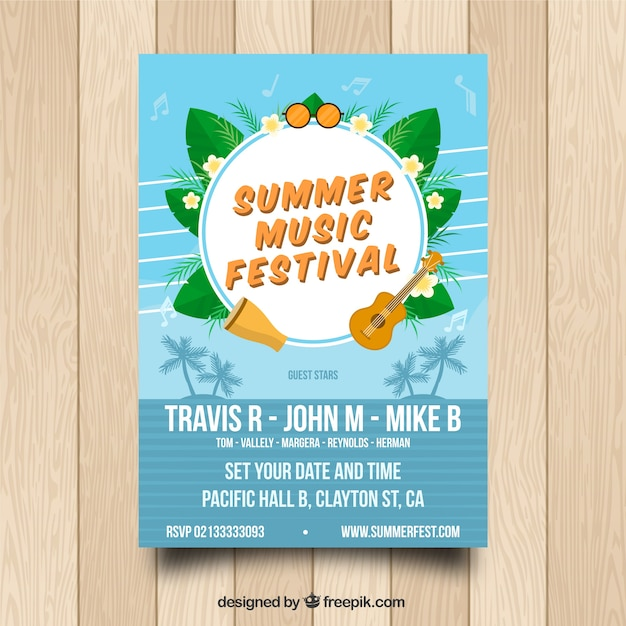 Summer music poster template Free Vector