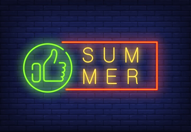Summer neon text in frame with thumb up. seasonal offer or sale advertisement Free Vector