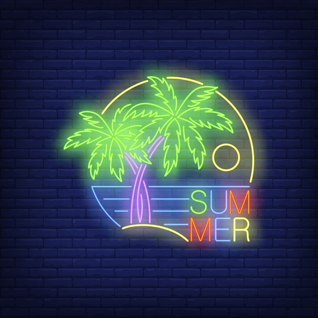 Summer neon text with palm trees and sea Free Vector