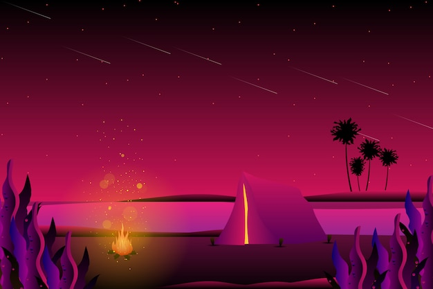 Summer night camping with sea background Premium Vector