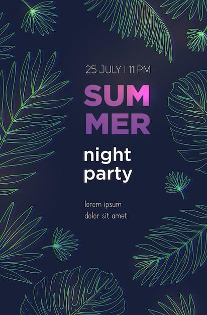 ヤシの熱帯の葉で夏の夜のパーティーポスターテンプレート。イベント、祭りイラストプラカード。 Premiumベクター