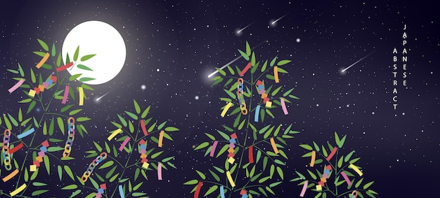 Summer night starry sky meteor moon and bamboo branches with colorful decoration of ribbon and tags Premium Vector