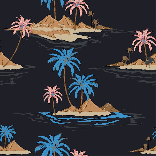 Summer night tropical island hand drawing style seamless pattern in vector i Premium Vector