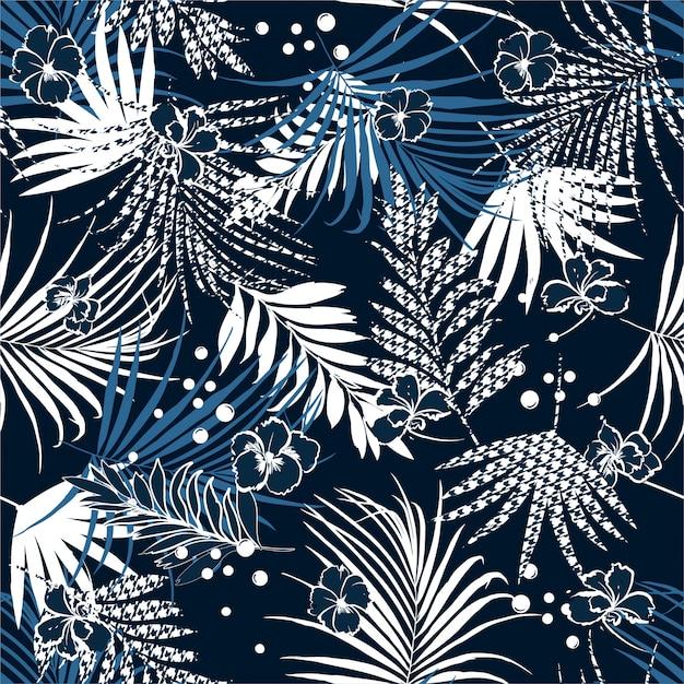 Summer night tropical seamless pattern Premium Vector