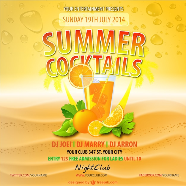 Summer orange juice party poster Free Vector