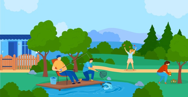 Summer outdoor activity flat vector illustration. cartoon active family or friends characters spend time in nature together, fish in lake Premium Vector