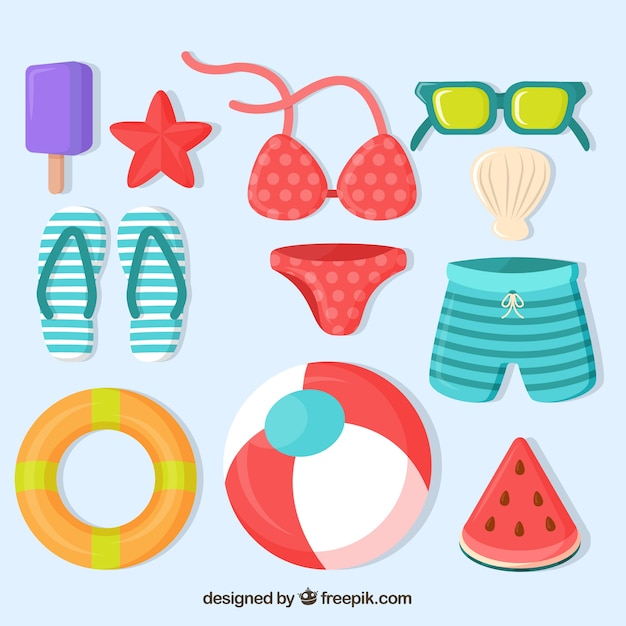 Summer pack of colored items in flat design Free Vector