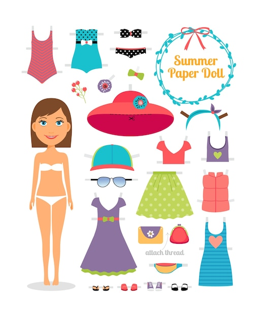 Summer paper doll. girl with dress and hat.  cute dress up paper doll. body template, outfit and accessories. summer collection. Free Vector