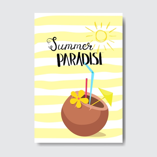 Летний райский коктейльный кокосовый значок Premium векторы