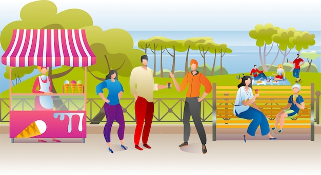 Summer park rest, woman man people walk with street food outdoor  illustration. happy nature leisure with ice cream,  city lifestyle. green landscape concept, recreation at bench. Premium Vector