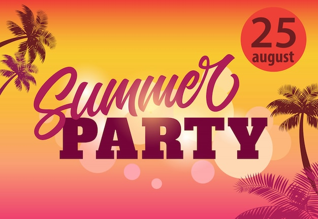 Summer party, august twenty five flyer with palm silhouettes and sunset Free Vector